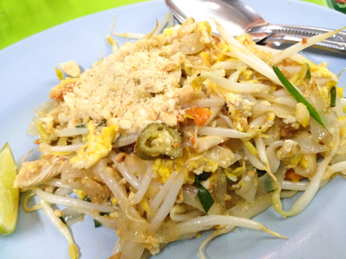 Pad Thai. Stir-fried rice noodle with chopped tofu, sprouts, egg, tamarind and fish sauce. For a $1 or less all over Thailand - gotta love this country!!