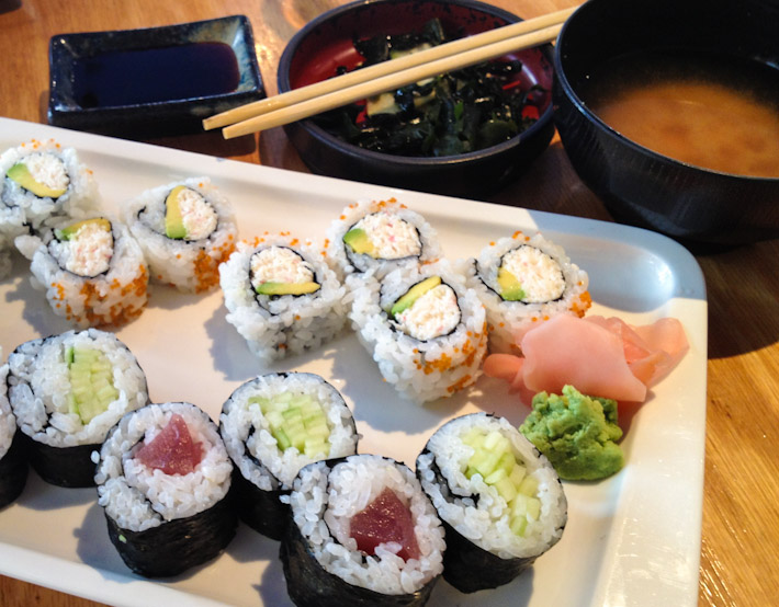 Sushi rolls in San Francisco, with seaweed salad and miso soup: one of my ideal lunch sets!