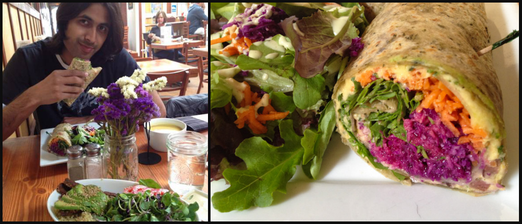 Keeping in Vegan in Morro Bay, with salad burritos, grilled tempeh and steamed brown rice.