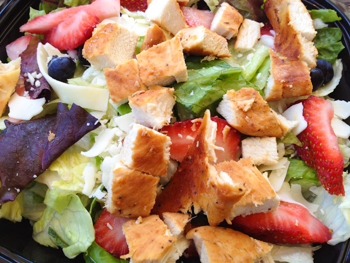 Wendy's grilled chicken and berries salad: one of the most decent fast food options we had in the USA
