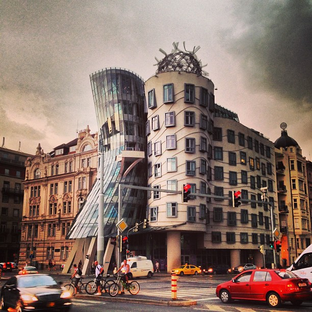 The Dancing House of Prague under a storm
