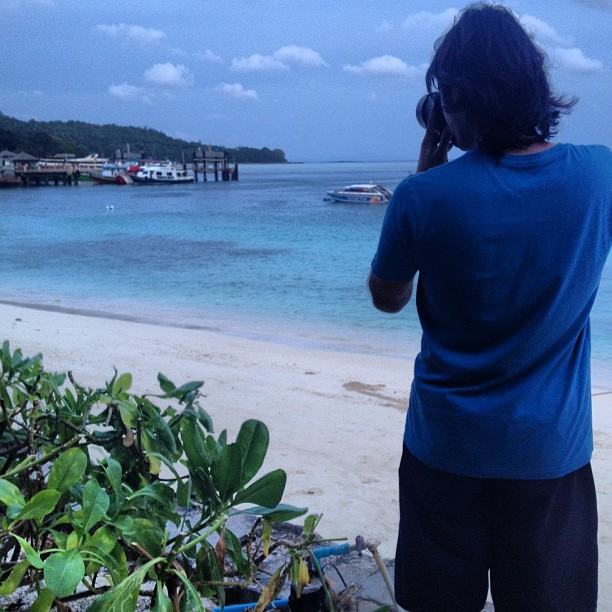 Taking photos of Tonsai Bay in Ko Phi Phi, Thailand