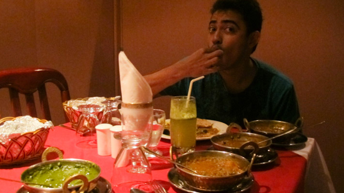 Avinash feasting on Indian food in Salalah