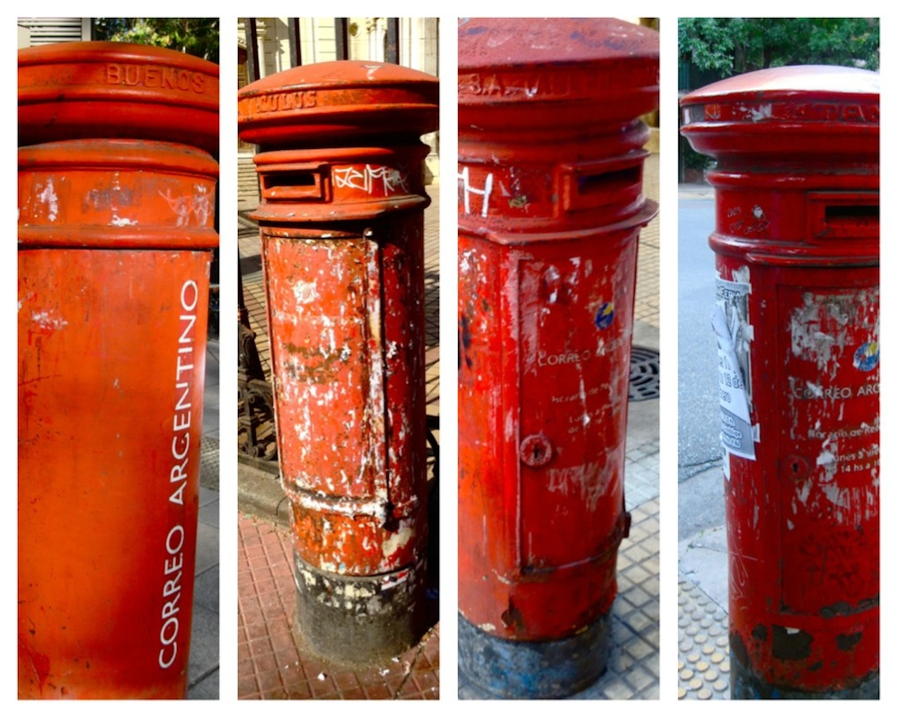 Red post boxes in Buenos Aires