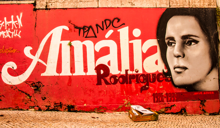 mural of fado icon Amalia Rodrigues, in Lisbon