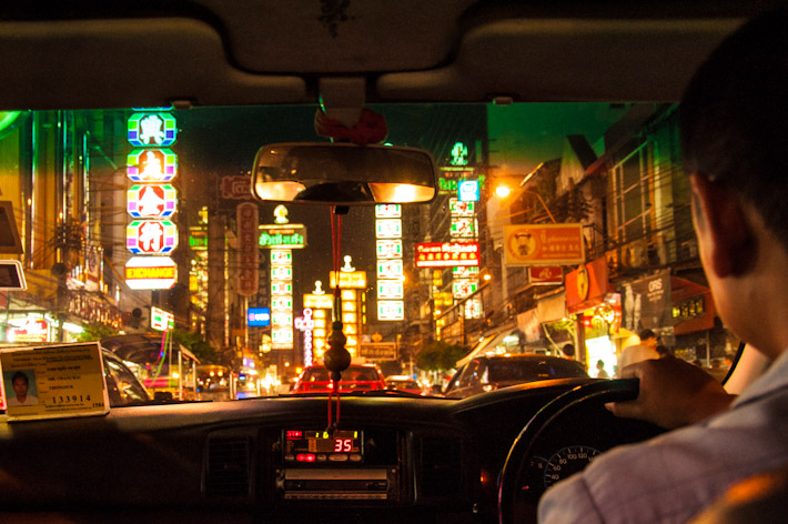 Inside a taxi in Bangkok's Chinatown
