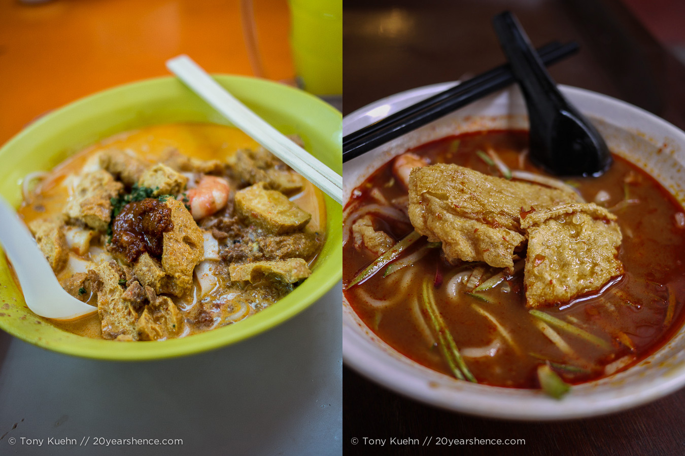 A taste of Malaysia—Baba laksa on the left, asam laksa on the right