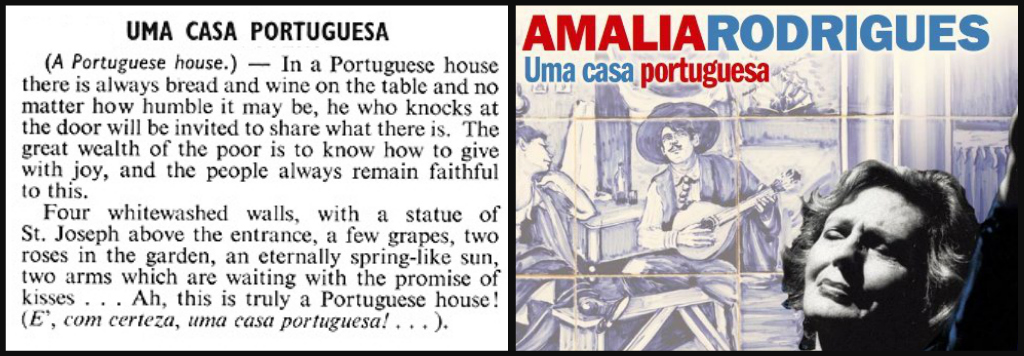 "Lyrics of fado song ""Uma Casa Portuguesa"", aka A Portuguese Home"