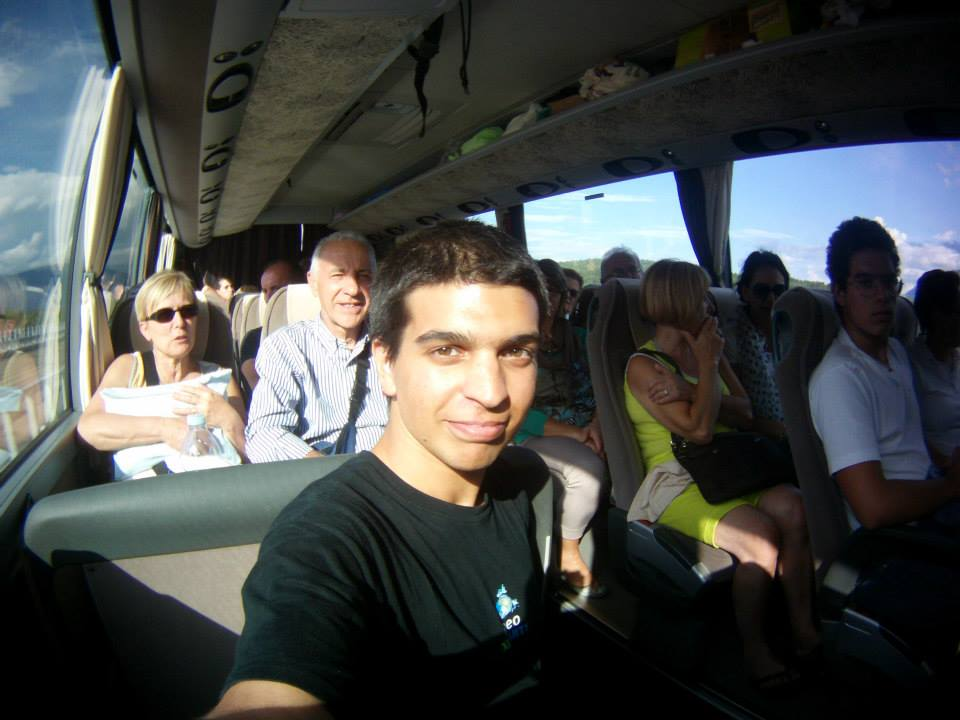 On the way to Italy, on a bus full of tourists