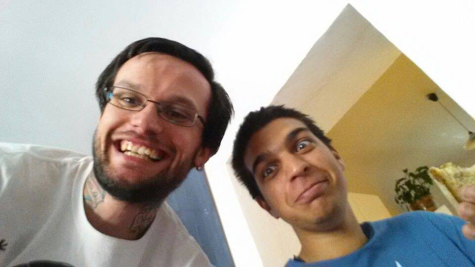 With Svata, Diogo's host in Prague, who he met in Berlin just a few days earlier