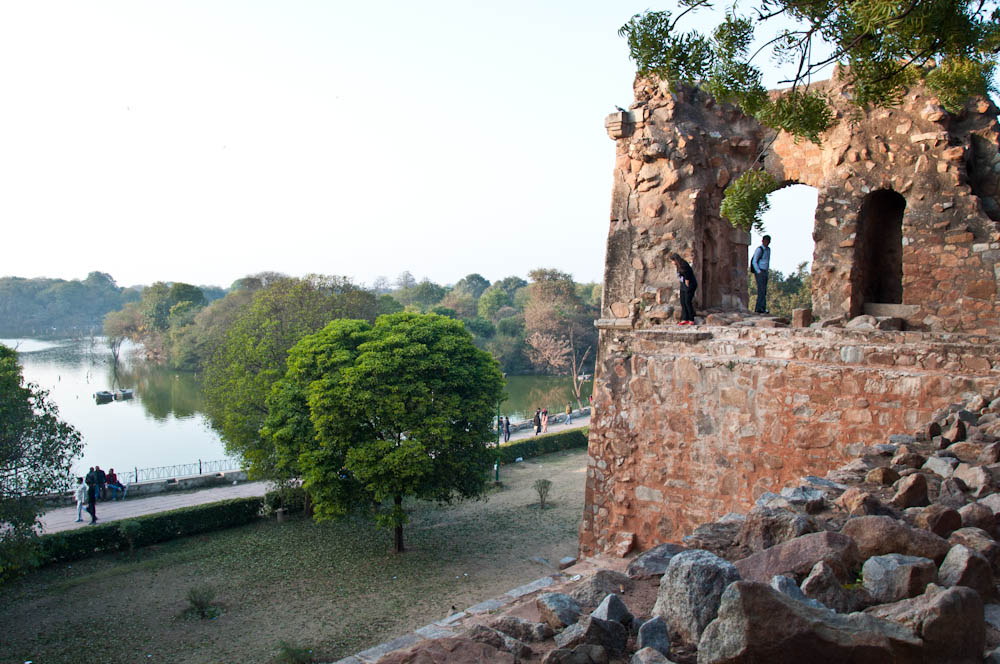 An end of day view over the Hauz Khaz Lake