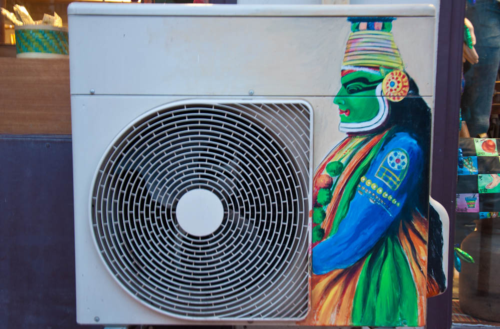 Giving AC units an ethnic touch seems to be a thing in Hauz Khas!