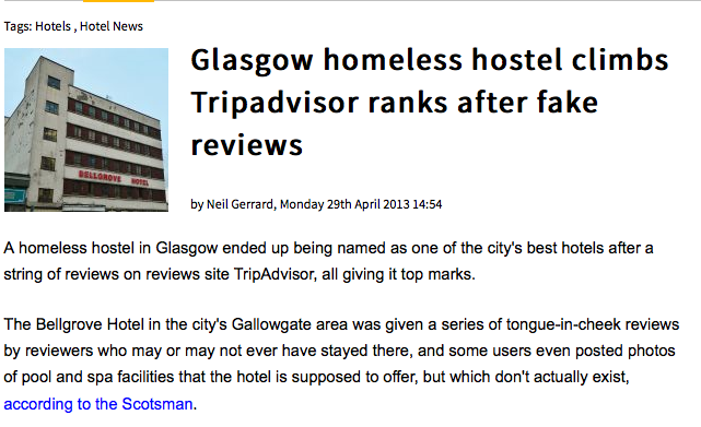 On Tripadvisor not only you can write fake reviews, you can even make up fake businesses! Full article: http://bit.ly/1mbEFyf