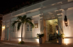 Hotel Boutique Don Pepe at night, in Santa Marta, Colombia
