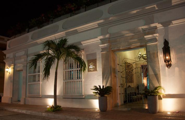 Hotel Boutique Don Pepe at night, in Santa Marta, Colombia