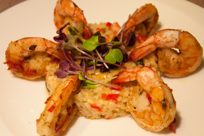 Dominican Prawns with mint & peppers risotto