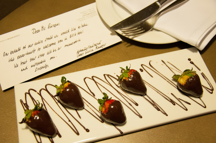 Chocolate covered strawberries: a complimentary treat delivered to our room upon arrival