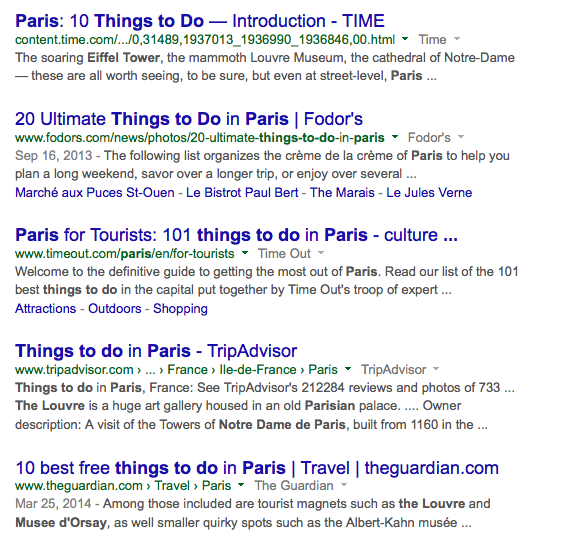 "Google results using keywords ""things to do paris"""