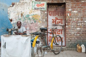 A street entrepreneur in India