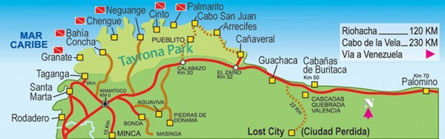 Tayrona National Park map: the intermittent brown represents the trek covered in this article