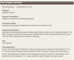 Colombia Visa Update for Indians