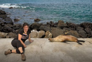 Zara playing with sea lions in the Galapagos