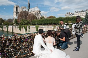 Wedding photos at the Love Lock Bridge in Paris