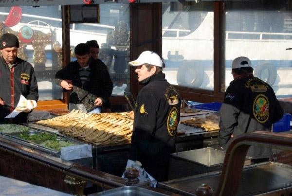 Fish restaurants of Galata bridge