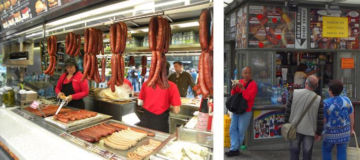 Sausage vendors in Prague