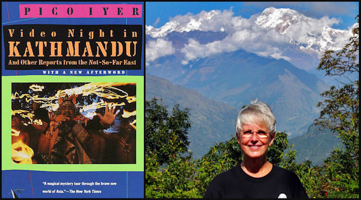 Video Night in Kathmandu + Barbara Weibel, against a backdrop of the Annapurna Himalayas in Nepal