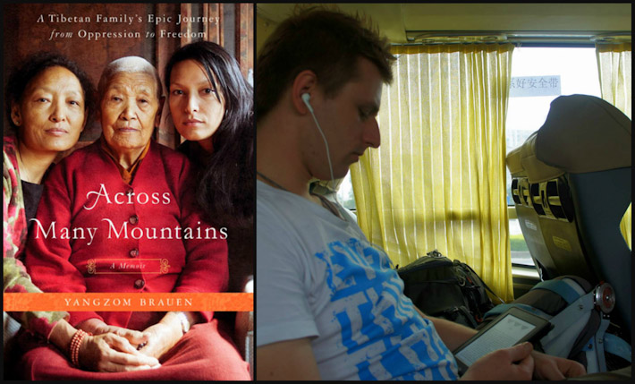 "Cez reading ""Across Many Mountains"" on the way to Hong Kong"