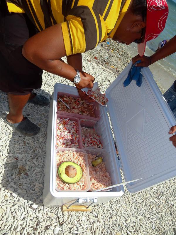Freshly-caught seafood street food in Venezuela