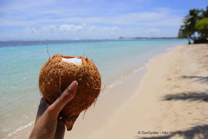 Fresh coconut at the beach in Samoa