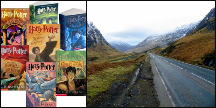 The Harry Potter Series by JK Rowling + scenery in Scotland by Mapping Megan