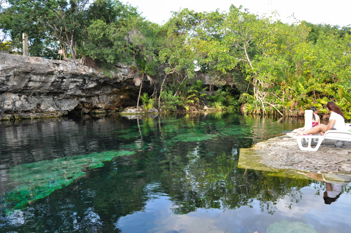 Relaxing at Cenote Cristalino