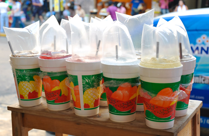 Fresh juices and Aguas Frescas (juice mixed with water) are very commonly sold in the streets of Mexico
