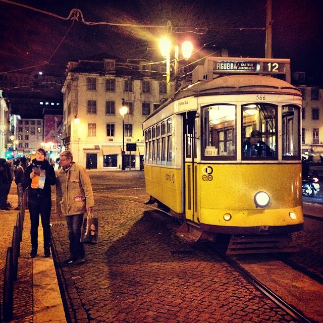 Typical tram in Downtown Lisbon