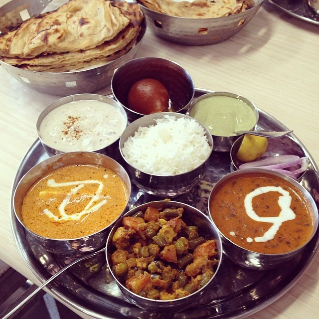 Delicious North Indian thali meal in New Delhi