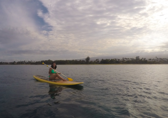 Zara paddling off the coast of Kihei