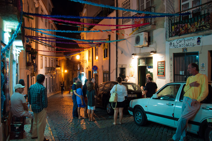 The streets of Alfama at night