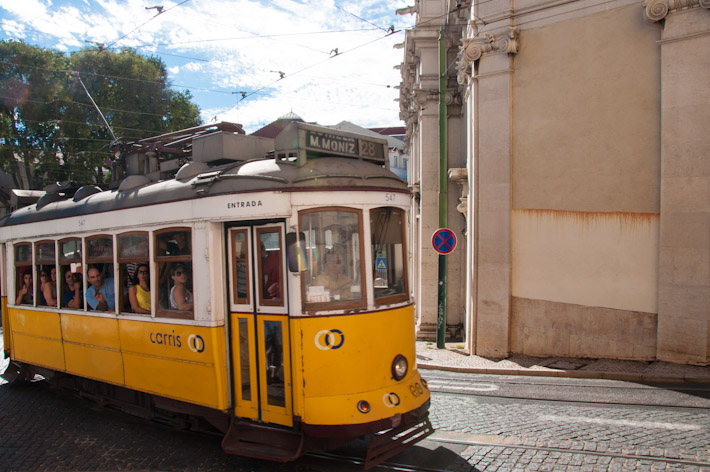 A typical tram in Lisbon