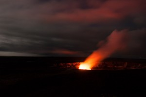 Kilauea Volcano glowing in the dark