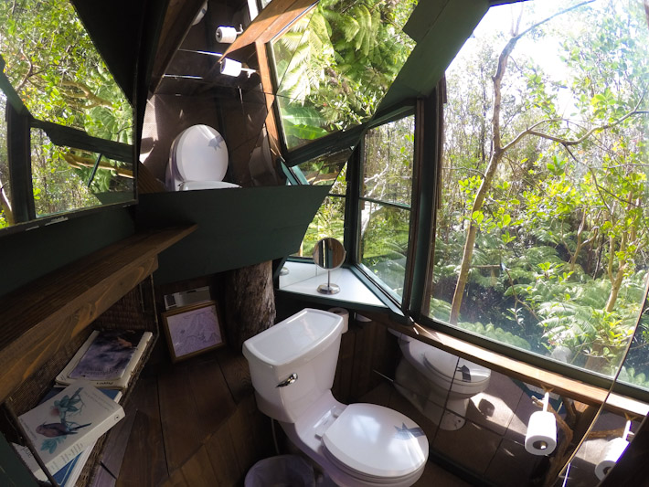 The most incredible view out of a bathroom ever - don't worry about privacy, there's only plants and birds around!