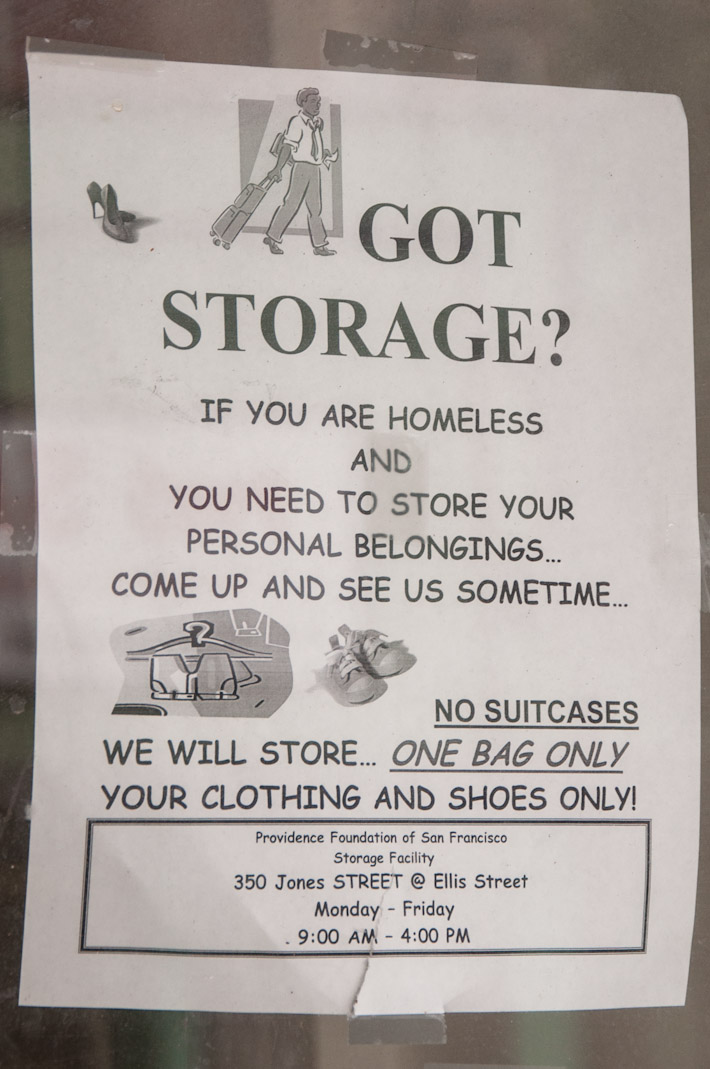Free storage for homeless people in Ellis Street