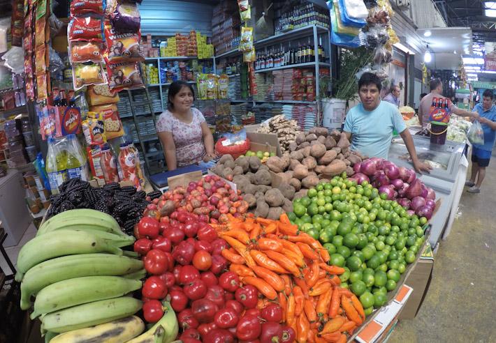Peruvian store at La Vega market, Santiago Chile