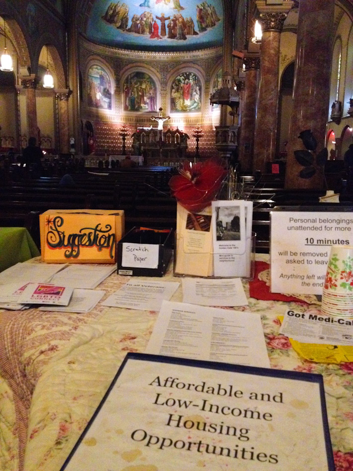 Support for homeless inside church at the Tenderloin