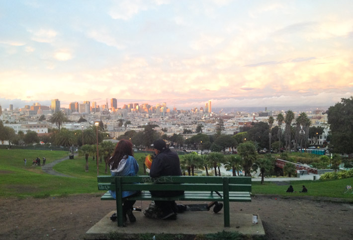 Romantic sunset in Dolores Park, San Francisco