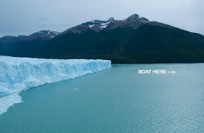 A tourist boat near Perito Moreno Glacier
