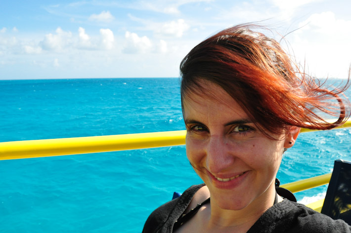Crossing from Cancun to Isla Mujeres. The photo has not been edited - the water is THAT blue!