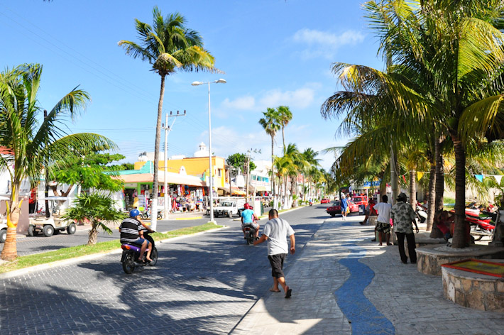 You can find juice stands and some street food vendors in the main streets of Isla Mujeres